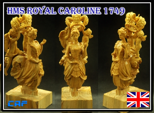HMS Royal Caroline  Scale 1/24 Figurehead for wood model ship kit